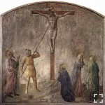 Longinus pierces the side of Christ. From a fresco by Fra Angelico